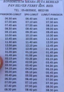 Pangkor Island Ferry 2019 Schedule